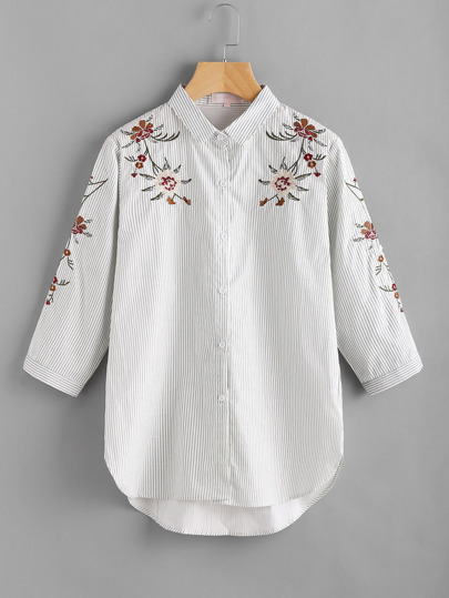 Pinstripe Flower Embroidery Single Breasted Blouse