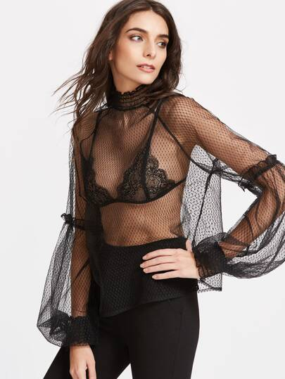 Black Ruffle Detail Lantern Sleeve Dotted Mesh Top