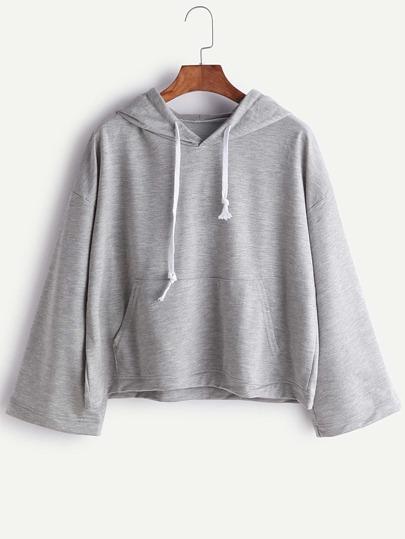 Heather Grey Hooded Drop Shoulder T-shirt