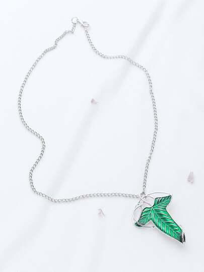 Silber Anhänger Halskette mit abnehmbarem Blatt