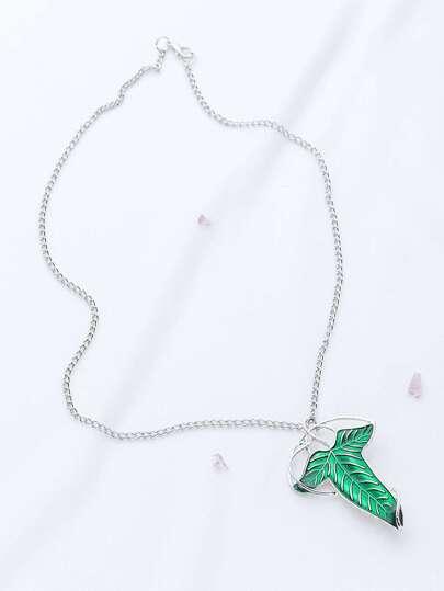 Silver Pendant Necklace With Detachable Leaf