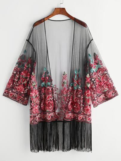 Kimono bajo con flecos con bordado de malla - negro