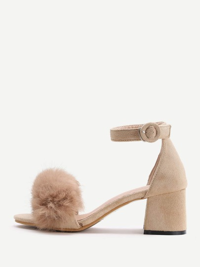 Apricot Faux Fur Ankle Strap Chunky Heels