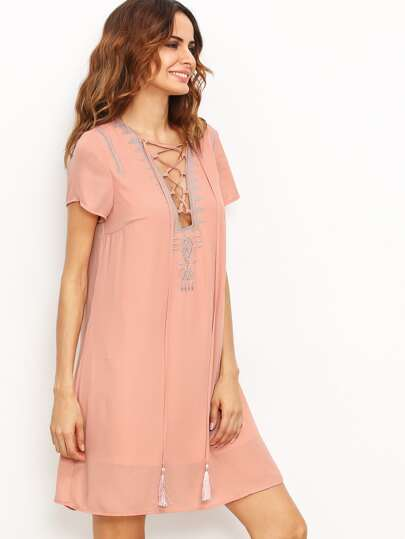Lace Up Tassel Tie Swing Dress