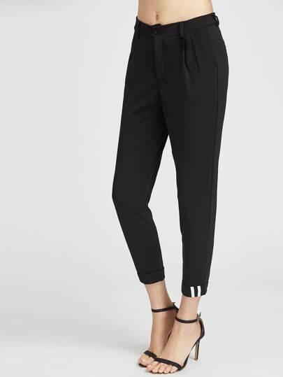 Pantalones con vueltas con detalle de cintas - negro
