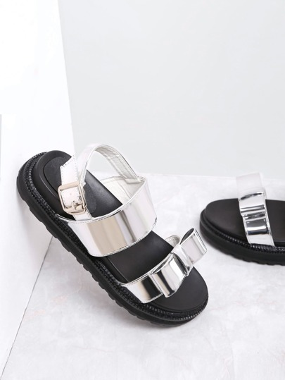 Silver Bow Embellished Patent Leather Sandals