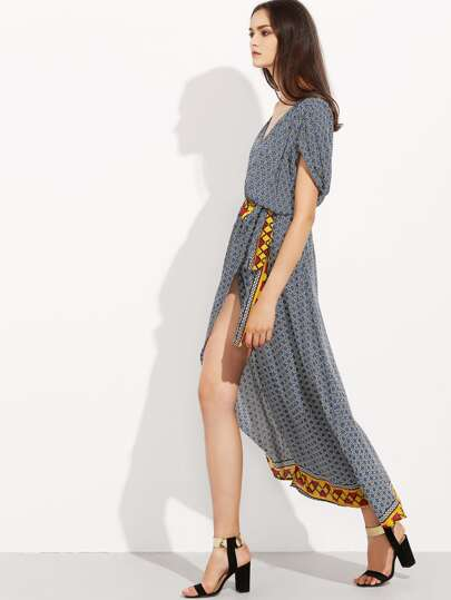 Grey Purple Short Sleeve Geometric Print Split Maxi Dress