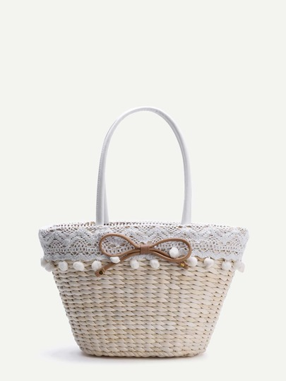 Beige Bow Embellished Straw Bag With Pom Pom Trim