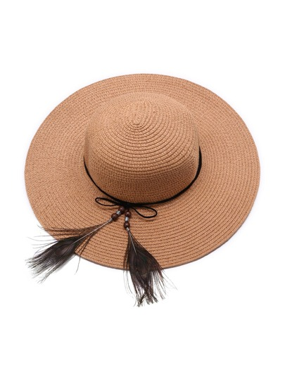 Khaki Straw Hat With Feather Detail