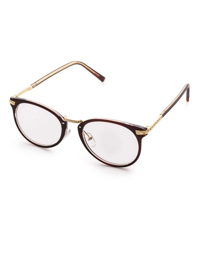 Brown Frame Metal Arm Clear Lens Glasses