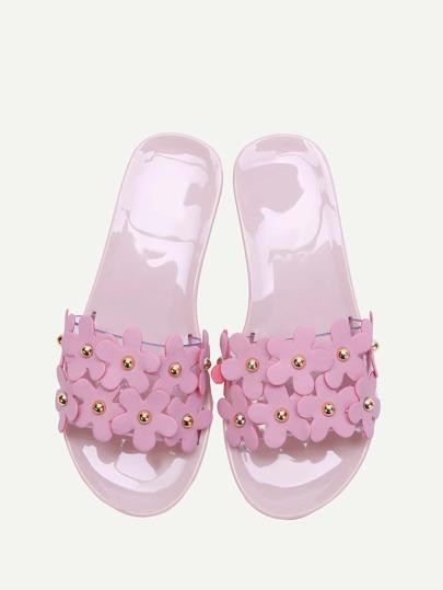 fleur rose embelli diapositive flat sandales