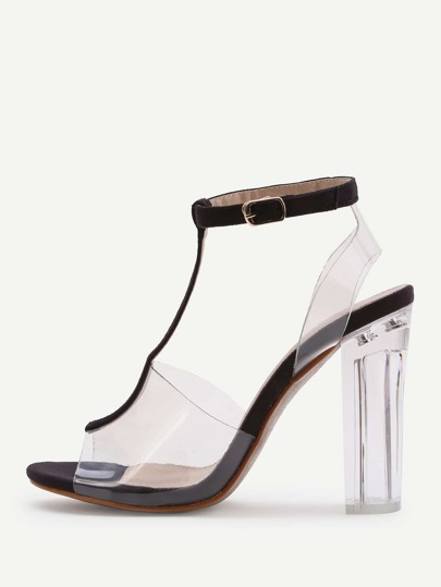 Contrast Ankle Strap Peep Toe Clear Chunky Heels