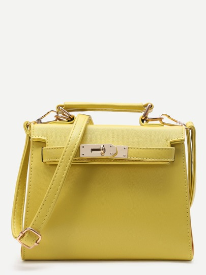 Yellow PU Satchel Bag With Handle