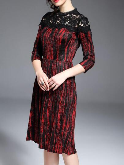 Red Contrast Lace Pleated Dress