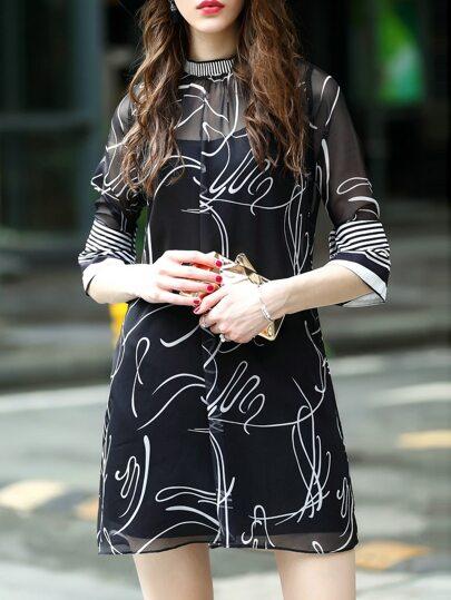 Robe noire transparent avec lacet