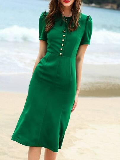 Green Tie Neck Sheath Dress