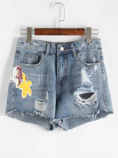 Shorts con estampado con rotura en denim - azul claro