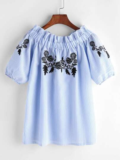 Boat Neckline Embroidered Pinstripe Top