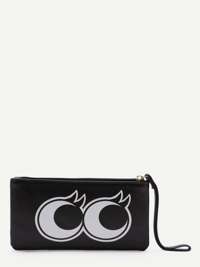 Black Eye Pattern PU Purse