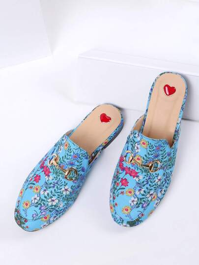 Blue Floral Print Flat Slippers