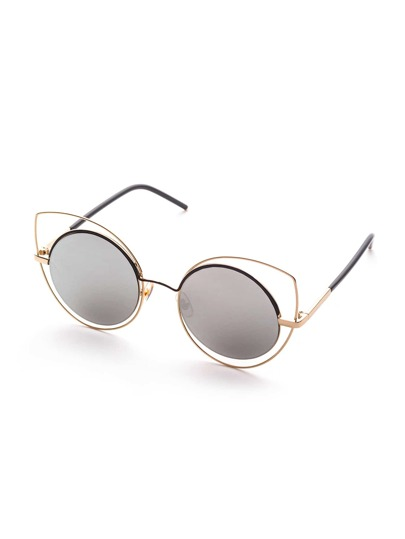 Double Frame Grey Lens Cat Eye Sunglasses