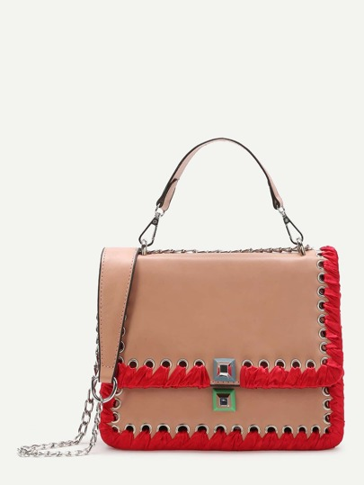 Pink Lace Up Trim Satchel Bag With Chain