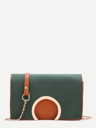 Green Semi-Ring Design Crossbody Tasche mit Kette