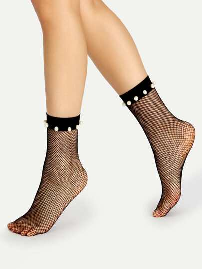 Calcetines con detalle de perla de imitación de malla