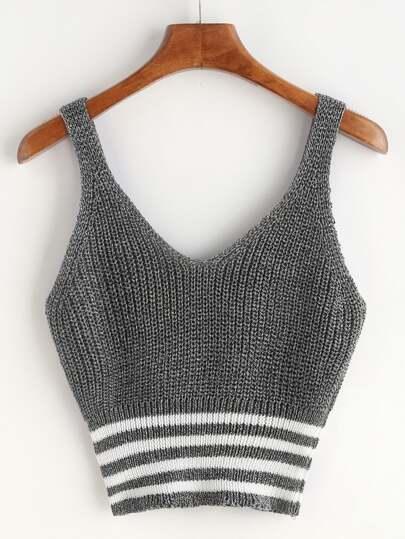 Marled Knit Double V Neck Striped Hem Tank Top