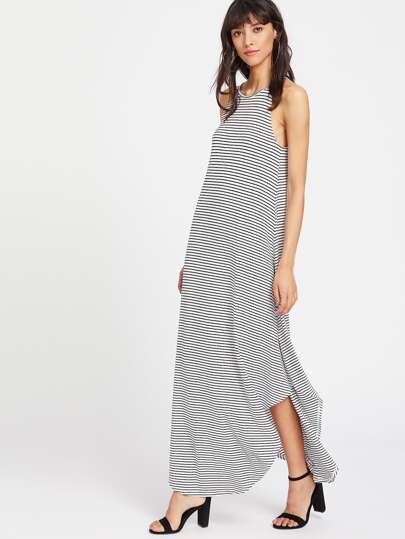 Striped Curved Hem Racer Dress
