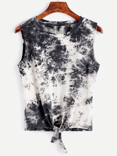 Bleach Dye Knot Front Tank Top