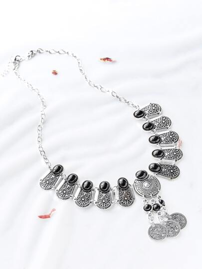Silver Gem Inlay Etched Bib Coin Necklace