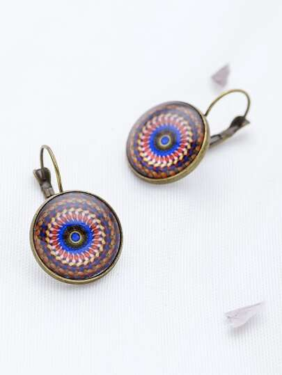 Bronze Eye Pattern Hoop Earrings
