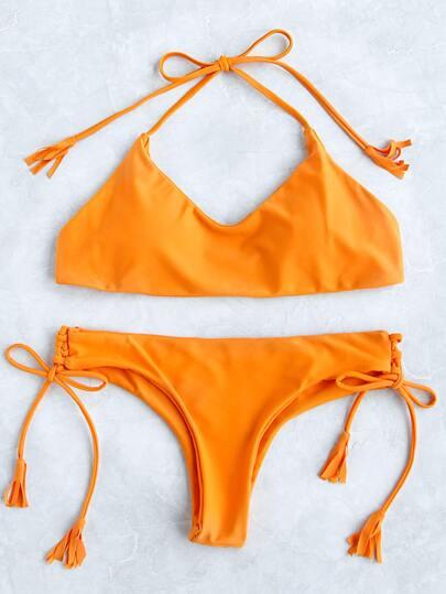 Ensemble bikini ras de cou jaune avec un lacet