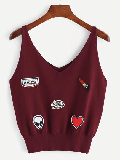 Camisole en tricot patch broderie détail V-cou