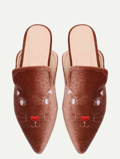 Brown Cat Embroidery Point Toe Slippers