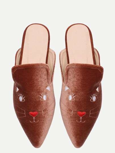 Brown Cat Broderie Point Toe Velvet Pantoufles