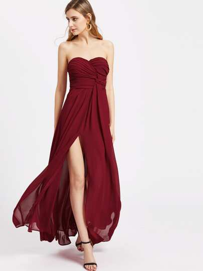Ruched And Twist Sweetheart High Slit Bandeau Dress
