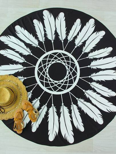 Geometric Feather Print Round Beach Blanket