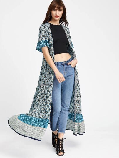 Mehrfarben Art und Weise Maxi Kimono Druck