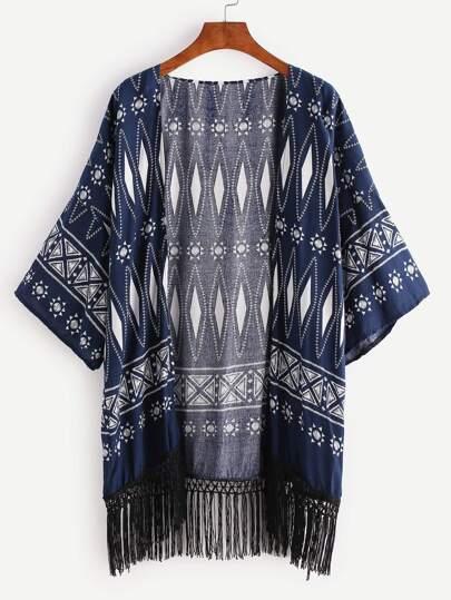 Kimono imprimé de la figure géométrique avec des franges