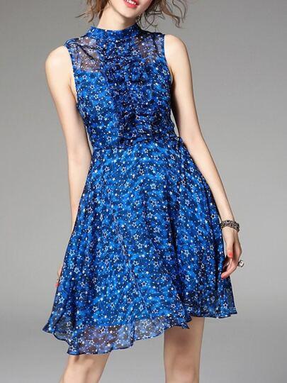 Blue Stars Print A-Line Dress