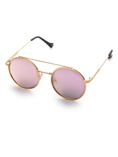 Purple Flat Lens Double Bridge Round Sunglasses