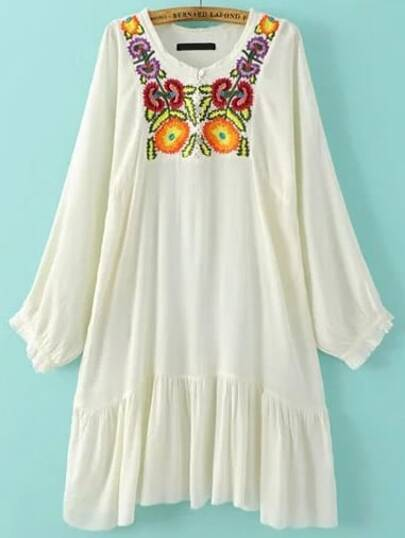 White Embroidered Pleated Hem Dress