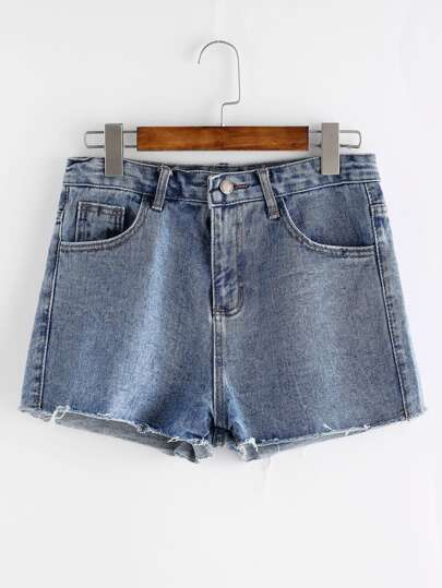 Shorts con bordado de rosa en denim - azul claro