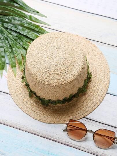 Khaki Contrast Leaf Trim Straw Hat