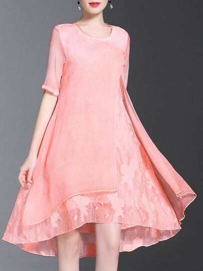 Pink Crew Neck Split High Low Dress