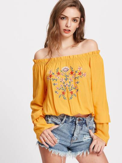 Flower Embroidered Ruffle Off Shoulder Top