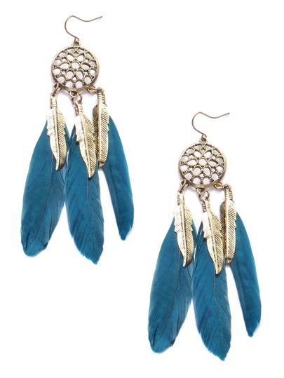 Blue Feather Drop Vintage Earrings