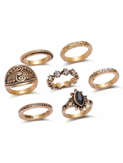 Bronzo strass Vintage Design Ring Set